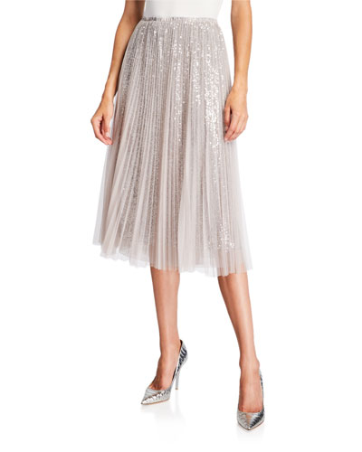 Sequined Tulle Layered Midi Skirt