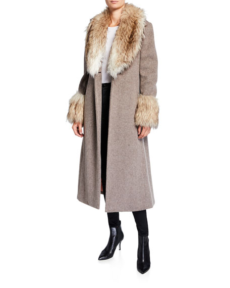 cinq a sept Irina Belted Coat with Faux Fur Trim