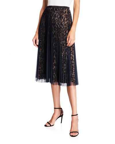 Layered Animal-Print Mesh Midi Skirt