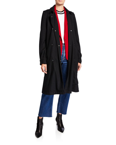 Rag & Bone Eunice Belted Wool Snap-Front Coat