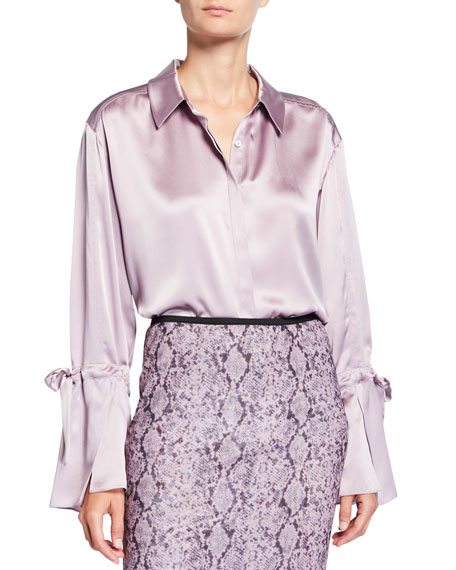 cinq a sept Elisia Tie-Sleeve Silk Top