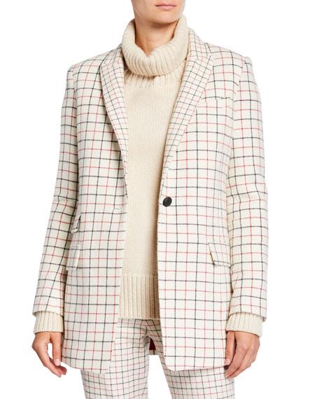 Rag & Bone Nova Single-Button Check Wool Blazer