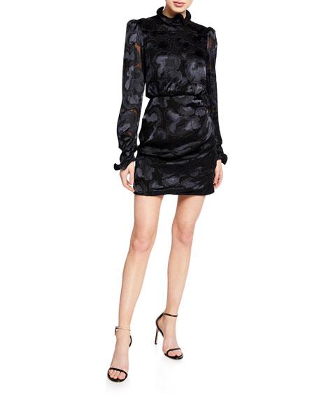 Saloni Rina B Long-Sleeve High-Neck Cocktail Dress