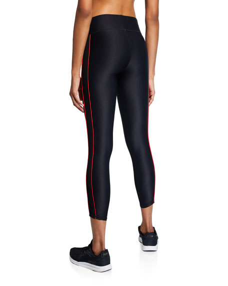 Terez Mid-Rise Cropped Leggings with Piping