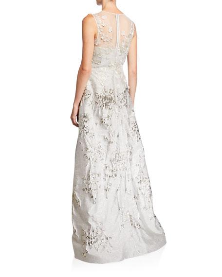 Rickie Freeman for Teri Jon Mesh-Yoke 3D Flower Jacquard Gown