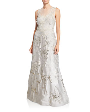 81b1d61a6682 Rickie Freeman for Teri Jon Mesh-Yoke 3D Flower Jacquard Gown