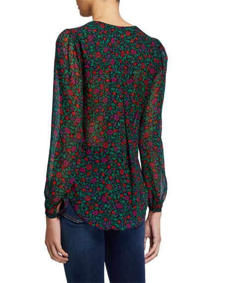 Veronica Beard Lowell V-Neck Long-Sleeve Silk Blouse
