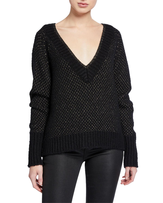 Mirnie Metallic V Neck Sweater by Veronica Beard