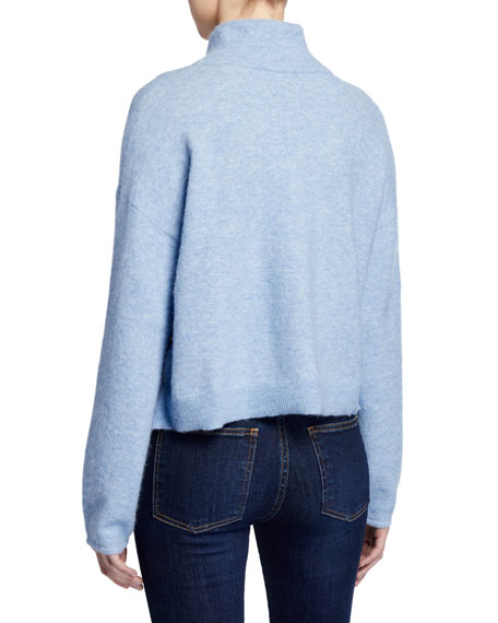 Veronica Beard Cady Mock-Neck Pullover with Buttons