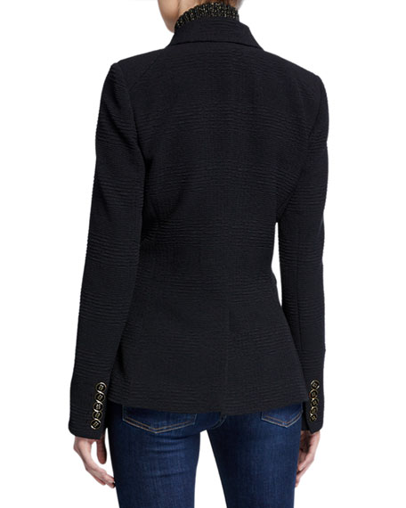 Veronica Beard Miller Textured Double-Breasted Dickey Jacket