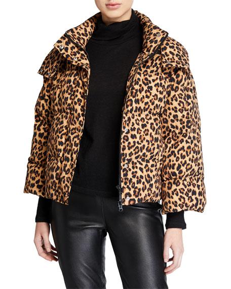 Veronica Beard Casper Leopard-Print Puffer Jacket