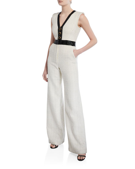 Veronica Beard Emmeline Sleeveless Tweed Jumpsuit