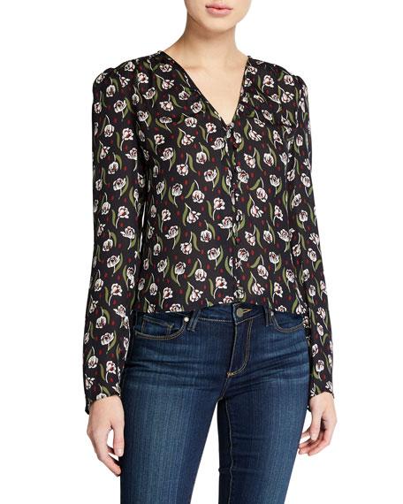 Veronica Beard Ashville Floral V-Neck Long-Sleeve Silk Blouse