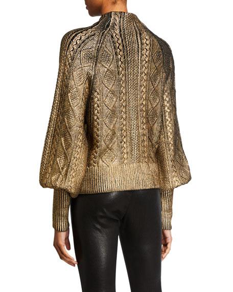Veronica Beard Grady Bishop-Sleeve Metallic Sweater