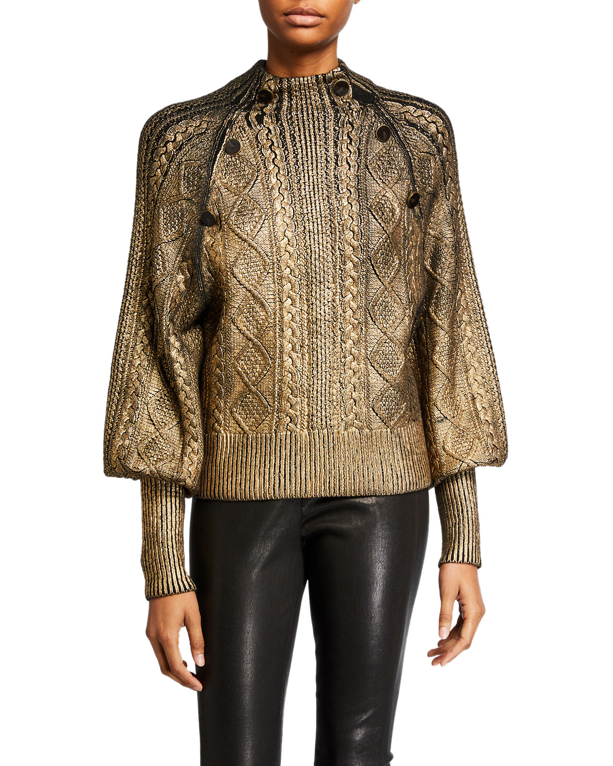 Grady Bishop Sleeve Metallic Sweater by Veronica Beard