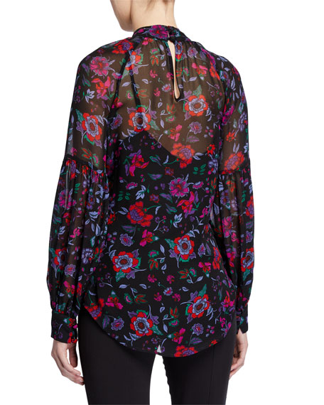 Veronica Beard Harlem High-Neck Floral Top