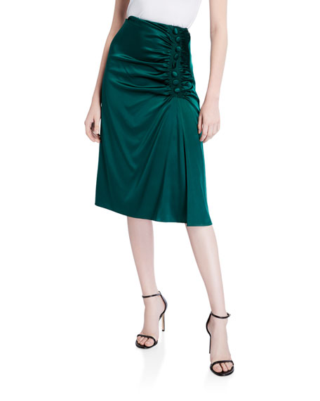 Veronica Beard Minetta Gathered Silk Skirt
