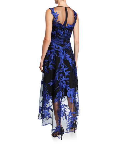 Rickie Freeman for Teri Jon Embroidered High-Low Tulle Dress