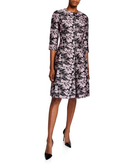 Rickie Freeman for Teri Jon Bow-Neck 1/2-Sleeve Floral Jacquard Dress