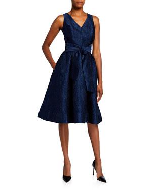 d934f10589ac Rickie Freeman for Teri Jon V-Neck Sleeveless Jacquard Dress with Sash Belt