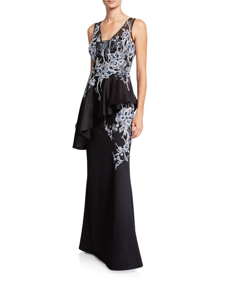 Rickie Freeman for Teri Jon Embroidered Floor-Length Peplum Gown