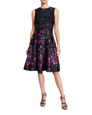 a37bf6971e108 Rickie Freeman for Teri Jon Sleeveless Fit-&-Flare Jacquard Dress