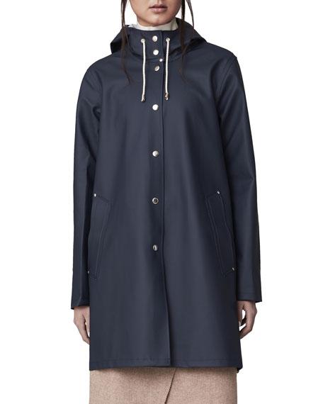 Stutterheim Mosebacke Rubberized Raincoat, Light Navy