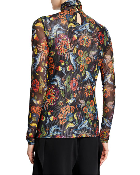 cinq a sept Paisley Long-Sleeve Turtleneck Top