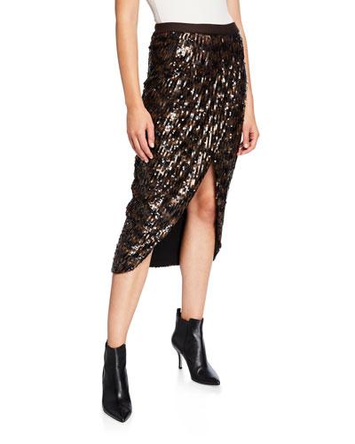 Take It Easy Sequined Midi Skirt