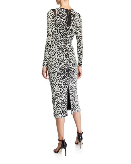 Le Superbe Kate Leopard-Print Long-Sleeve Wrap Dress