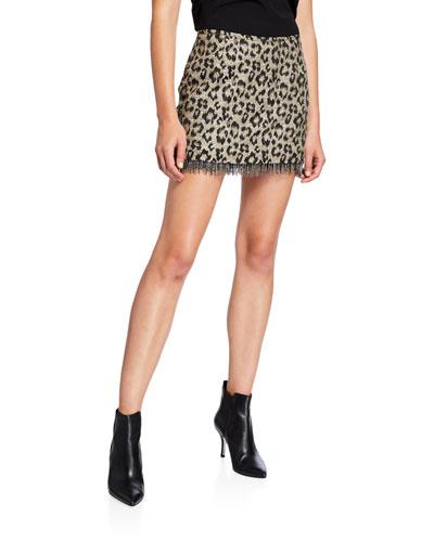 Jewel Box Fringed Leopard-Print Skirt