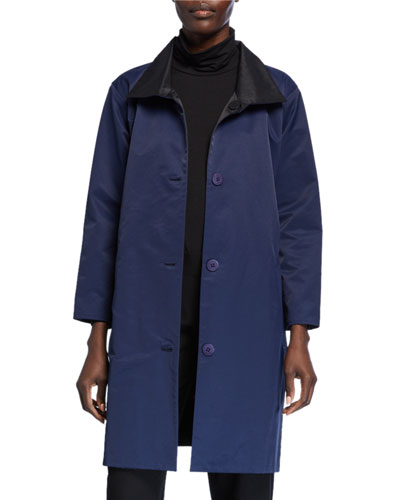 Reversible Button-Front Coat with Stand Collar