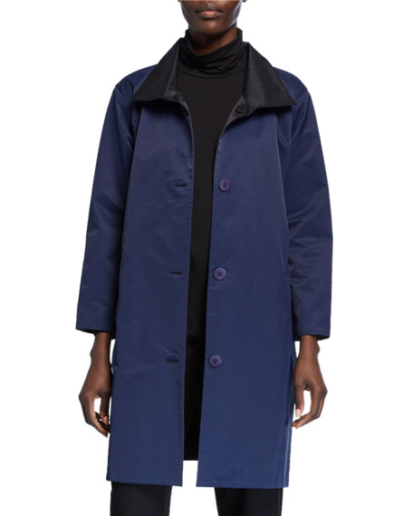 Eileen Fisher Coats REVERSIBLE BUTTON-FRONT COAT WITH STAND COLLAR