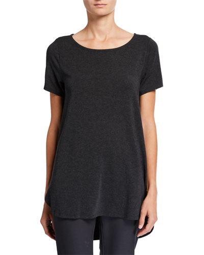Short-Sleeve High-Low Lyocell Top