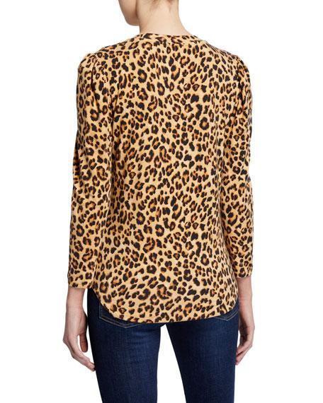 Veronica Beard Porter Leopard-Print Puff-Sleeve Tee