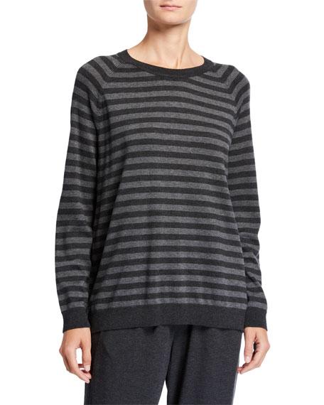 Eileen Fisher Plus Size Striped Long-Sleeve Cozy Sweater