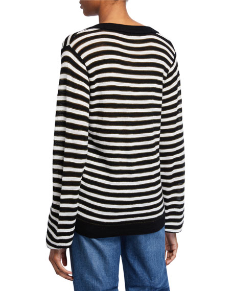 Veronica Beard Sutton Striped V-Neck Wool Sweater