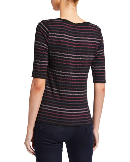 Veronica Beard Poppy U-Neck Striped Tee