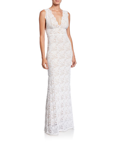 Perfect Plunge-Neck Sleeveless Lace Maxi Dress