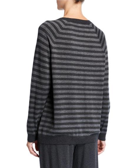 Eileen Fisher Petite Striped Long-Sleeve Cozy Sweater