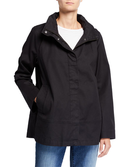 Eileen Fisher Plus Size Organic Cotton Twill A-Line Coat w/ Removable Hood