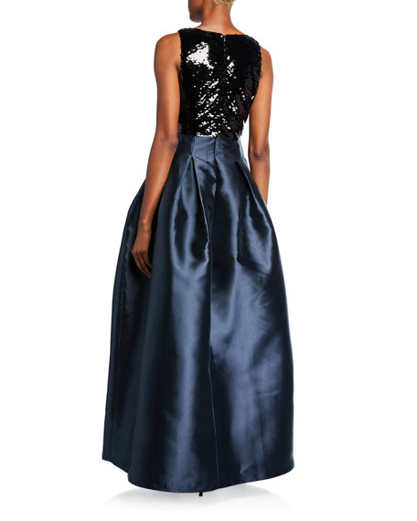 Sachin & Babi Claire V-Neck Sleeveless Sequin-Bodice Ball Gown