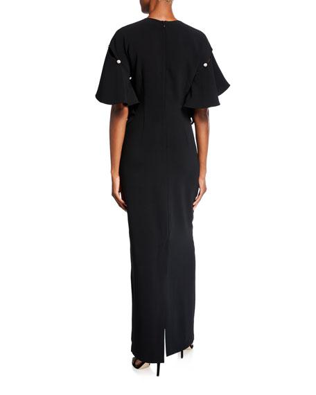 Sachin & Babi Agatha Drop Shoulder Column Gown with Embellishment