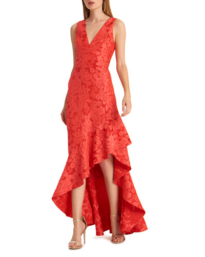 Deep V-Neck Sleeveless Floral Jacquard Asymmetric Dress
