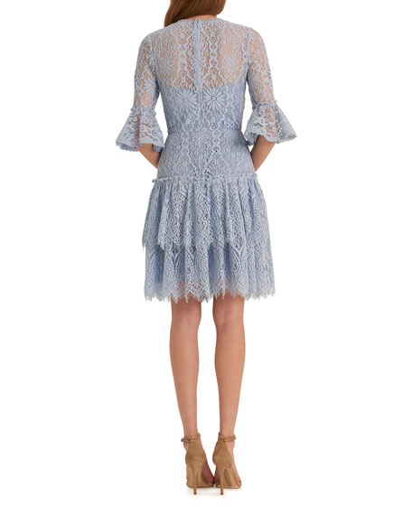 Image 2 of 2: Corded Floral Lace Bell-Sleeve Ruffled Tiered Skirt Dress