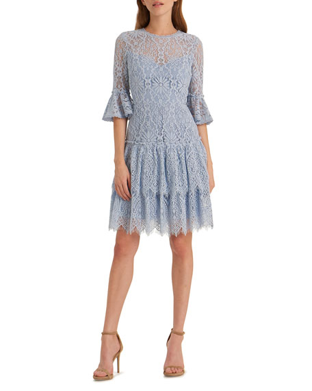 Image 1 of 2: Corded Floral Lace Bell-Sleeve Ruffled Tiered Skirt Dress