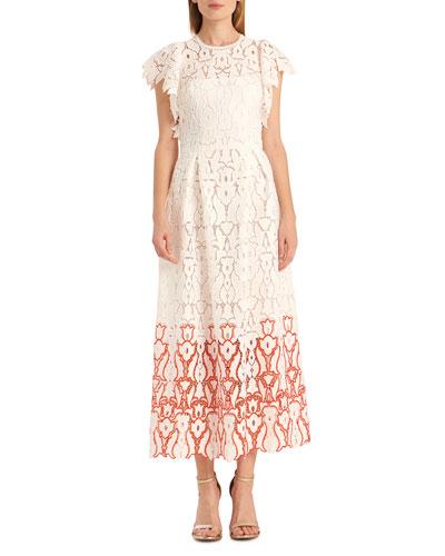 Crewneck Flutter-Sleeve A-Line Lace Dress
