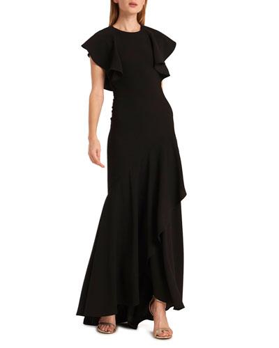 Crewneck Ruffle-Sleeve Open-Back Gown