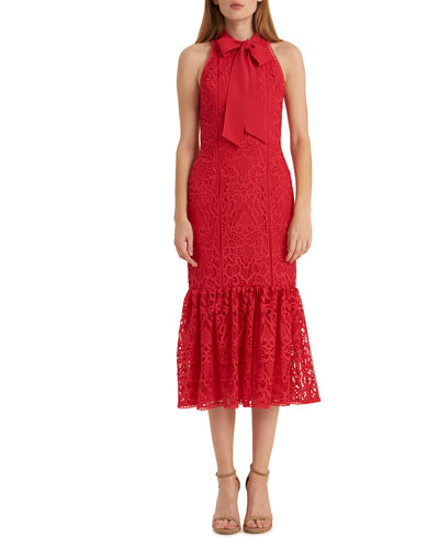Lace Fit-&-Flare Halter Dress