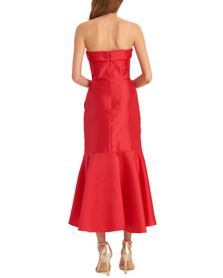 ML Monique Lhuillier Strapless High-Low Midi Dress with Asymmetrical Skirt